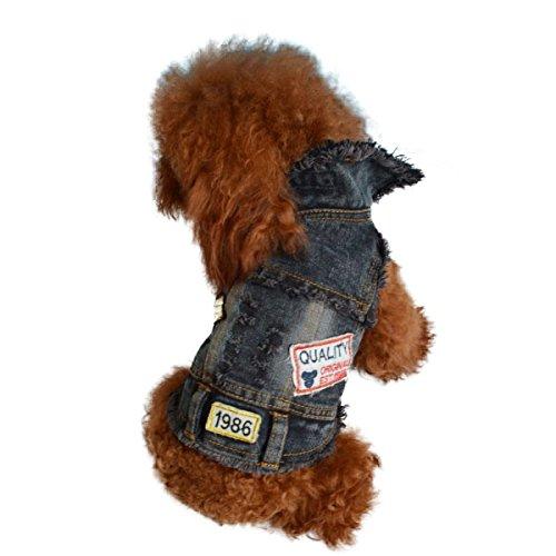ペット 犬 ドッグウェア 切りっぱなしワッペンGジャン 海外ブランド S ブルー