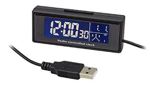 カシムラ 電波時計 車用 USB電源 自動受信 ホワイト 文字発光 常時点灯 金属ステー/両面テープ貼り付け 2mロングコード NAK-212