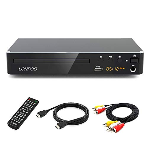 LONPOO Kompakter DVD Player für TV, HD DVD-Player mit HDMI / Cinch / USB /MIC Ports,1080p Upscaling, MultiROM, Alle Regionen frei (HDMI & AV Kabel enthaltenl)
