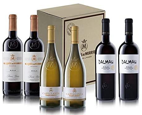 Caja mix especial 6 botellas: 2 de Marqués de Murrieta reserva 2016, 2 de Capellanía 2016, 2 de Dalmau 2017