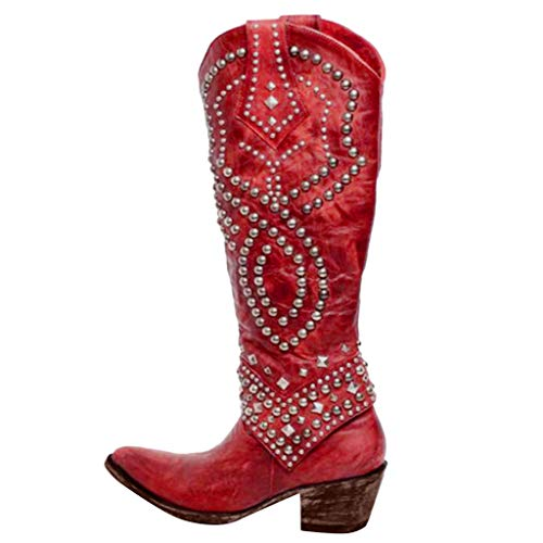 Check Out This jiumoji Womens Rivets Slip-On Leather Western Cowboy Boot Low-Heeled Shoe Over The Kn...