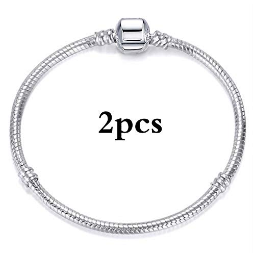 Pulsera Brazalete, Joyeria Regalo, Vintage DIY Crystal Glass Beads Charms Bracelets For Women Silver Plated Snake Chain Brand Bracelets Pulsera Jewelry Silver 18cm