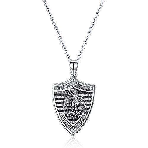 YFN Collar de plata de ley con diseño de escudo de San Miguel, patrón de San Miguel, colgante de ángel de la guarda para mujeres, niñas, niños, 18 pulgadas