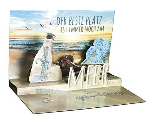 3D Pop – UP Karte Geburtstag, mit Glitter, Geburtstagskarte 3D, POP - UP Karten, POP UP Karten Geburtstag, Motiv: Meer