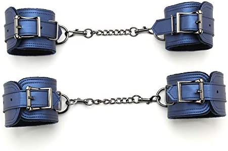 exreizst 4 Adjustable Ankle Wrist Leather Cuffs Soft Straps Set with 2 Metal Chains Blue product image