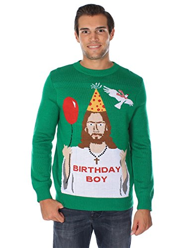 "Tipsy Elves Men's Ugly Christmas Sweater - Happy Birthday Jesus Sweater Green 8 ""****LAST CHANCE! Order Today and Save with our Lowest Priced Deals of the Holiday Season. While supplies last!****"" Tipsy Elves' ugly christmas sweaters are perfect for gifting to all of your friends but most importantly, yourself! Whether you're inside, outside, together or apart, or even stuck in a virtual meeting, whenever you rock your Tipsy Elves gear no one will ever doubt the ferocity of your festive fury. Tipsy Elves' hilariously ugly sweaters are a perfect gift this holiday season, why wait to share the love when you and your friends and family can make everyone laugh with one of our funny sweaters. Whether you're celebrating and matching in person or just catching up online, Tipsy Elves' hilarious holiday clothing will keep everyone looking cozy and warm!"