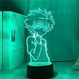 3D Lampe Illusion Optique LED Veilleuse, 16 Couleurs Changeantes Fille Lampe LED USB Veilleuse Illusion pour Enfants Adultes Cadeau d'anniversaire et de Vacances avec TélécommandeHunter X Hunter