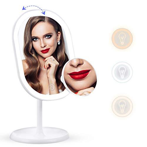 liaboe Espejo de Maquillaje con Luz LED con Espejo Aumento 10x Espejo Cosmético de Mesa con 3 Modos de Color Rotación de 180° Interruptor de Pantalla Táctil Recargable USB.