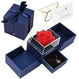 """Joyhoop Rosa Eterna, La Bella e La Bestia Rosa, con Collana """"Ti amo"""" in 100 lingue, Può essere usato come regalo di San Valentino, regalo per la festa della mamma e regalo di compleanno."""
