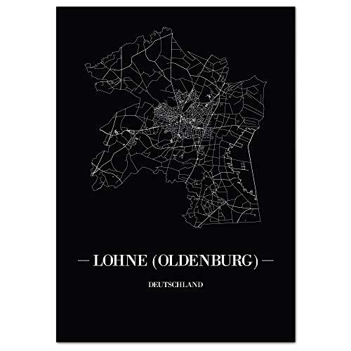 JUNIWORDS Stadtposter - Wähle Deine Stadt - Lohne (Oldenburg) - 21 x 30 cm Poster - Schrift A - Schwarz