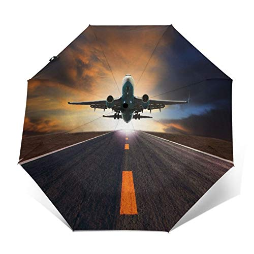 SUHETI Compact Travel Umbrella Windproof Automatic,Passenger Jet Plane Flying Over Airport Runway Against Beautiful Dusky Sky Use,Waterproof Umbrella