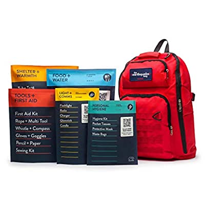 Complete Earthquake Bag - Emergency Kit for Earthquakes, Hurricanes, Wildfires and Other Disasters - Built for 1 Person for a 3 Day Period
