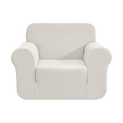 CHUN YI 1-Stück Sofa Überwürfe Sofabezug Jacquard Elastische Stretch Spandex Couchbezug Sofahusse Sofa Abdeckung (1 Sitzer, Creme)