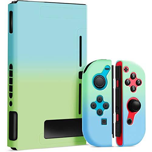 Dockable Hülle für Nintendo Switch - Grip Case für Nintendo Switch, Animal Crossing Style Dockable Schutzhülle für Nintendo Switch (Grün & Blau)