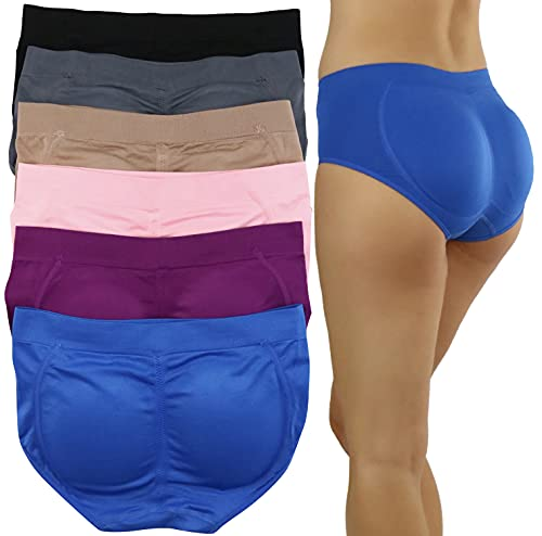 ToBeInStyle Women's Pack of 6 Enhancing Butt Boosting Padded Panty Briefs - Wild Berry Cream Assortment - One Size
