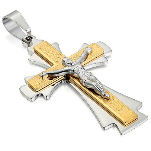 JewelryWe JewelryWe Jezus Kruis hanger met ketting van 55 cm, halsketting voor heren en dames, goud/zilver