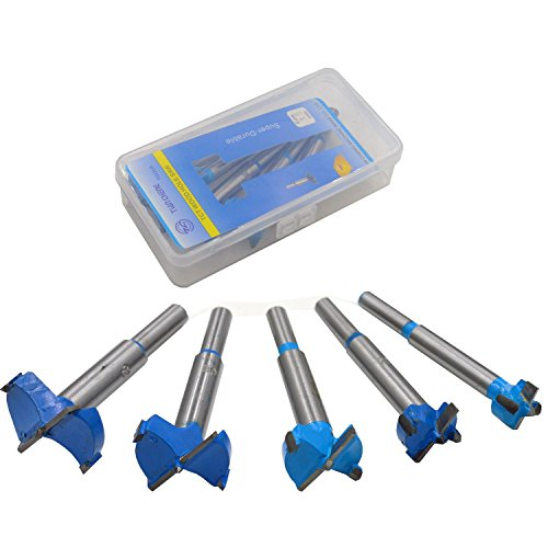 DerBlue 5Pcs Professional Forstner Drill Bit Set Woodworking Hole Saw Wood Cutter, Alloy Steel Wood Drilling Woodworking Hole Boring Bits Set Power Rotary Cutting Tool 15-35mm