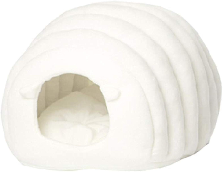 Gperw Sheep Pet Bed Kitten Puppies Semiclosed Pet Cat Nest Mat Four Seasons Universal Super Soft Warm White Non Slip Cushion Pad
