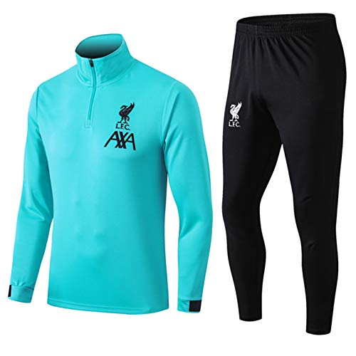 Fussball Jersey LǐVěrpǒǒl Langarm Langer Anzug Trainingsjacke Fußballanzug Set, 2021 hellblau lässiger Reißfestigkeit, tägliche Aktivitäten tragbar M
