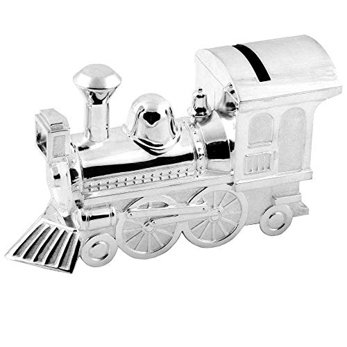 Christening Gifts. Boys Girls. Silver Train Money Box 6289
