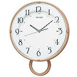 セイコー クロック 掛け時計 電波 アナログ 飾り振り子 薄茶 木目 模様 PH206A SEIKO