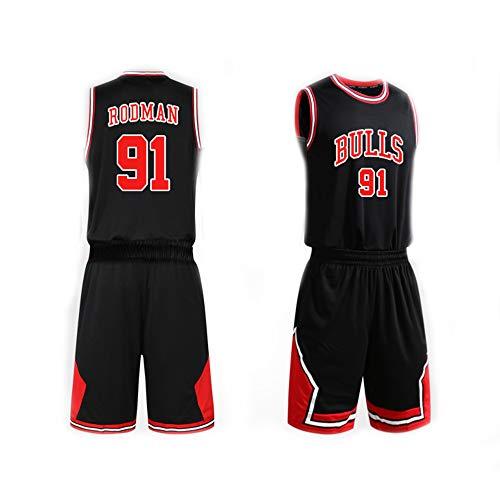 Maglia da Basket per Uomo Set Top+Pantaloncini, Dennis Rodman # 91 NBA Chicago Bulls, New Fabric Sports Jersey T-Shirt Senza Maniche T-Shirt T-Shirt,Nero,XL