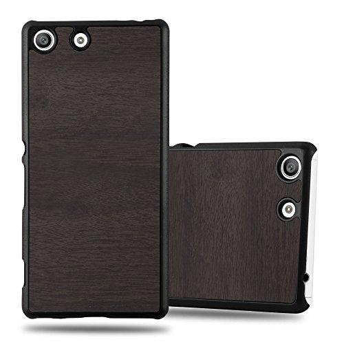 Cadorabo Custodia per Sony Xperia M5 in WOODY NERO - Rigida Cover Protettiva Sottile con Bordo Protezione - Back Hard Case Ultra Slim Bumper Antiurto Guscio Plastica