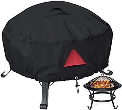 30 Inches Round Fire Pit Cover - No Fading and Waterproof Outdoor Fire Pit Cover with PVC Coating and Air Vent, Anti-UV, Rain, Wind, Dust and More