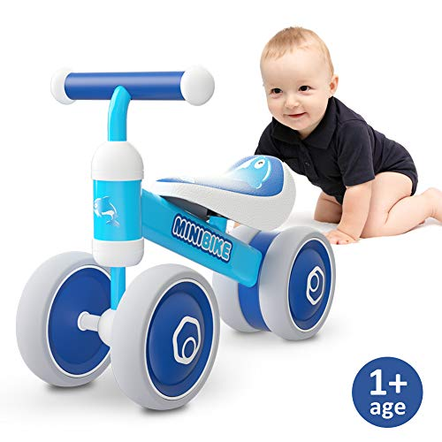 Baby Balance Bikes 10-24 Month Children Walker | Toys for 1 Year Old Boys Girls | No Pedal Infant 4 Wheels Toddler Bicycle | Best First Birthday New Year Holiday (Blue Dolphin)