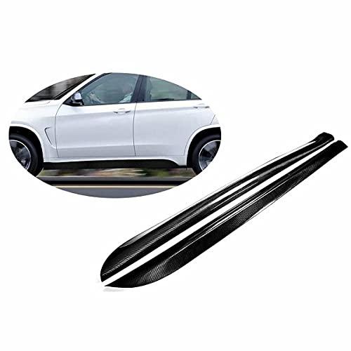 QINDE Faldones Laterales De Coche, Aptos para BMW X5 M Sport X5 M 4 Puertas 2014-2018 Faldones Laterales De Fibra De Carbono Extensiones De Alerón Paneles Basculantes (Parachoques No Base)