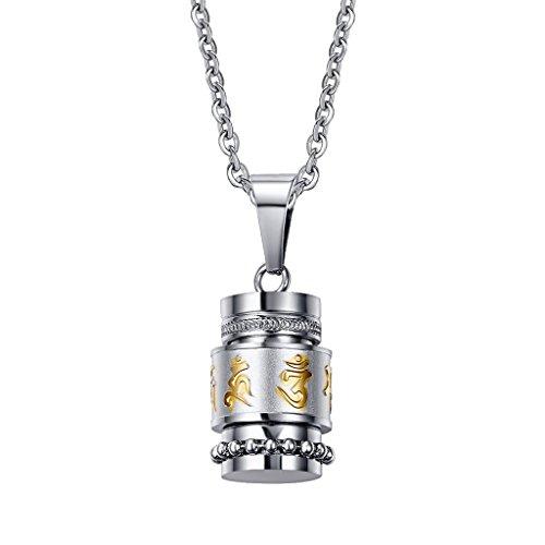 Collar Colgante Cilíndrico de Recuerdo Impreso Mantra de Budista Hecho de Acero Inoxidable Color Plata