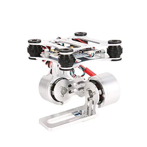 Greatangle-UK Gimbal del Pannello di Controllo PTZ Senza spazzole a 2 Assi HAKRC per Drone Gopro3 DJI Phantom Silver White