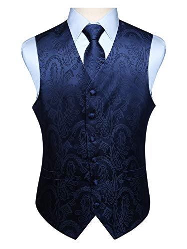 Enlision Herren Paisley Blumenhochzeit Jacquard Weste & Krawatte und Pocket Square Weste Anzug Set Marineblau