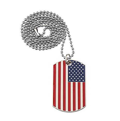 Collar con colgante de la bandera nacional militar, hip hop, hipster, punk, calle, estudiante, collar para hombres y mujeres, par de joyas punk, 123, rojo, talla