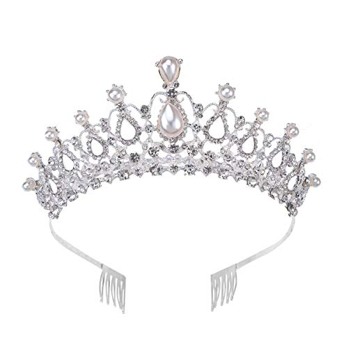 DealMux Tiara de cumpleaños con diamantes de imitación de cristal, diadema de...