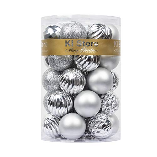 KI Store 34ct Christmas Ball Ornaments 1.57' Small Shatterproof Christmas Decorations Tree Balls for Holiday Wedding Party Decoration, Tree Ornaments Hooks Included (Silver, 1.57-Inch)