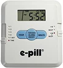 e-Pill | Pocket Pillbox | Portable Pill Dispenser with 4 Compartments | Vibrating and Audible Alarm with Snooze Feature | Battery Operated