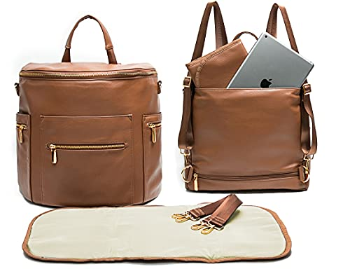 Leather Diaper Bag Backpack by Miss Fong, Baby Bag,Backpack Diaper Bag with Changing Pad,Wipes Pouch,Diaper Bag Organizer,Stroller Straps and Insulated Pockets (Brown Convertible)