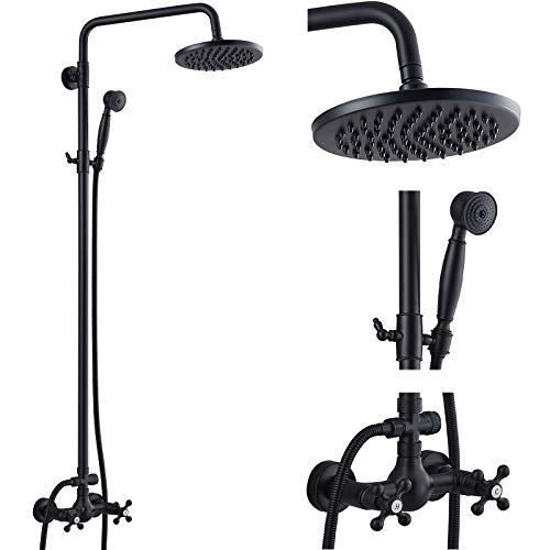 Matte Black Rain Shower System Set 2 Cross Knobs Mixing 8 Inch Rainfall Shower Head with Handheld Spray Bathroom Shower Faucet Wall Mounted