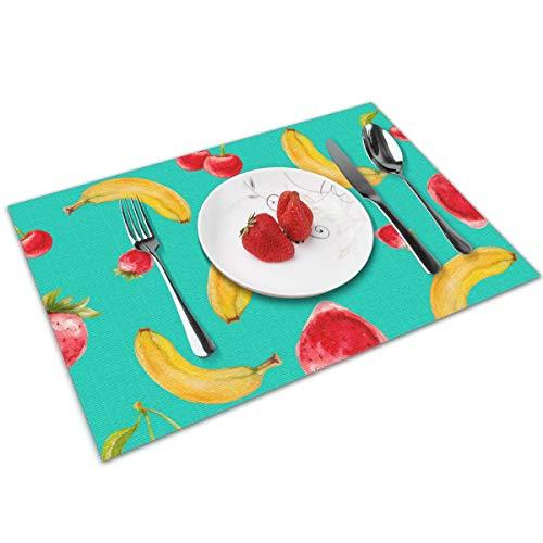 N/A Platzsets für Esstisch-Set, 4-teilig, Bananen, Kirschen und Erdbeeren, waschbar, für Küche, Abendessen, weich und leicht