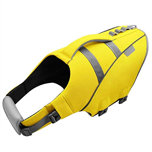 MIGOHI Dog Life Jacket, Reflective & Adjustable Preserver Floatation Vest with Rescue Handle, Ripstop Safety Life Saver for Small Medium Large Dogs, Yellow, L