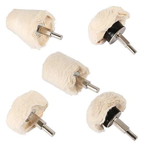 Polierrollen, 5 Stück, Werkzeug zum Polieren von Flanell, weiß, Kegel, Zylinder, Pilze, T-Shaped, Metall, Aluminium, Edelstahl