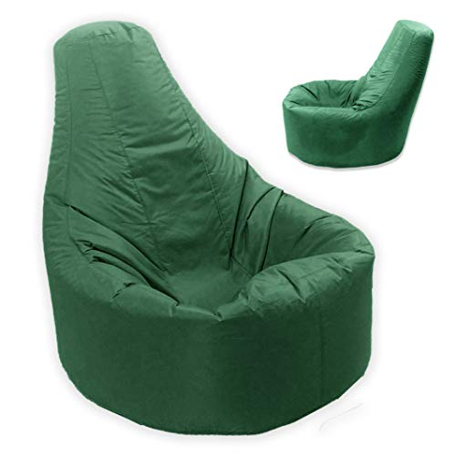 Large Bean Bag Gamer Recliner Outdoor and Indoor Adult Gaming Beanbag Garden Seat Chair Water and Weather Resistant (Green)