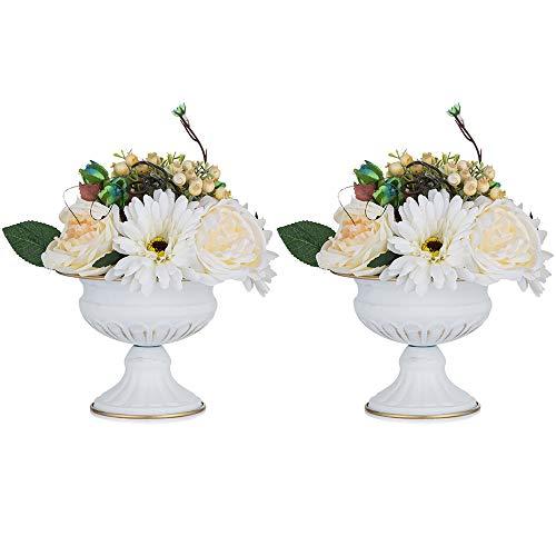 Nuptio 2 Stücke Mini Größe Metall Urne Pflanzer Elegante Hochzeit Mittelstücke Vase für Hochzeit Dekoration, 12.6cm Hohe Trompete Vase Blumenhalter für Jubiläumsfeier Weihnachten, Weiß Vase