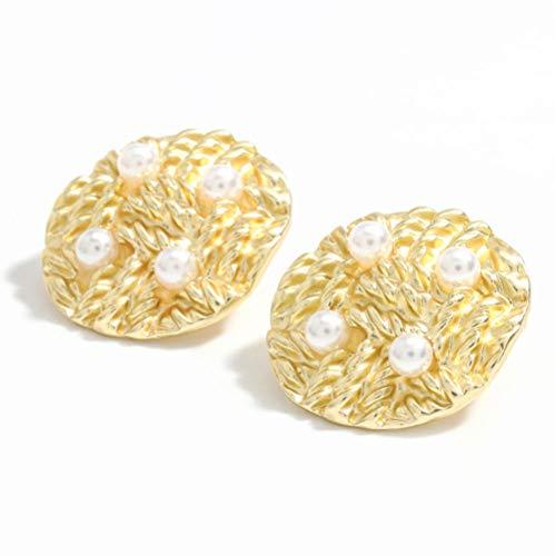 Vvff Pendientes Trenzados De Perlas De Imitación De Metal Redondo, Accesorios Populares De Joyería Para Mujeres