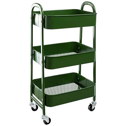 AGTEK Makeup Cart, Movable Rolling Organizer Cart, Bluish Green 3 Tier Metal Utility Cart
