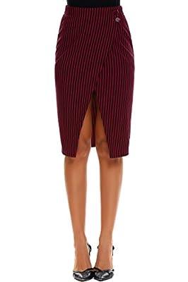 Zeagoo Women High Waist Striped Pencil Skirt Stretchy Knee Length Split Wrap Skirt S-XXL
