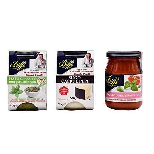 Biffi - Mix Specialità: Pesto Classico 190g, Sugo Cacio E Pepe 190g, Sugo Con Pomodoro E Basilico (napoletana) 190g