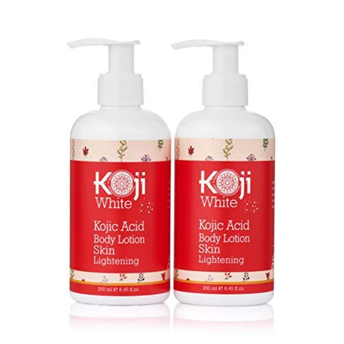 Koji White Kojic Acid Body Lotion Skin Brightening Gift Box Set - Moisturizing & Rejuvenated, Nourished, Smooth Skin for Exfoliating & Balance - 2 Pack 8.8 Ounce Bottle