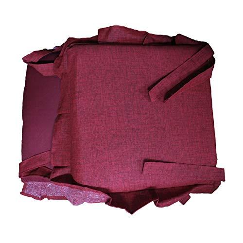 Russo Tessuti 6 Cuscini Sedie Cucina Coprisedia Imbottiti Tinta Unica ALLEGRIA Laccetti Volant-Bordeaux